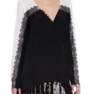 BCBG black & white lace long-sleeve top